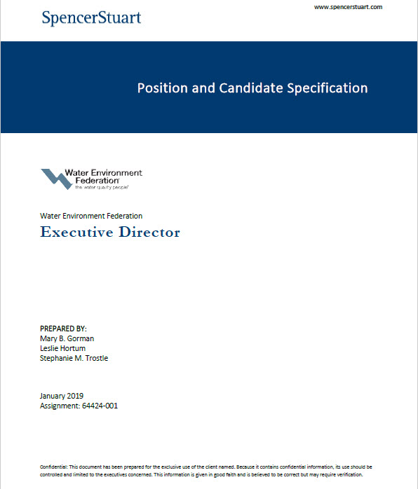 WEF Executive Director Position and Candidate Specification Document: Six Pages